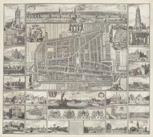 Tweede staat, uit 1702, van de zogenoemde Kaart Figuratief. Een plattegrond van Delft gemaakt in opdracht van het stadsbestuur. Gedrukt op vier koperplaten, met het noordoosten boven. Dit was de meest betrouwbare plattegrond van de stad Delft voor het kadaster ontstond, en is bovendien in Delft vervaardigd. Dit betreft een gemonteerd exemplaar met alle randprenten en profiel.