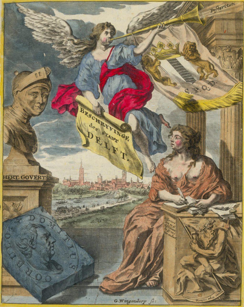 Titelprent van Dirck van Bleyswijck, Beschryvinge der stadt Delft, 1667 (TMS 71492)