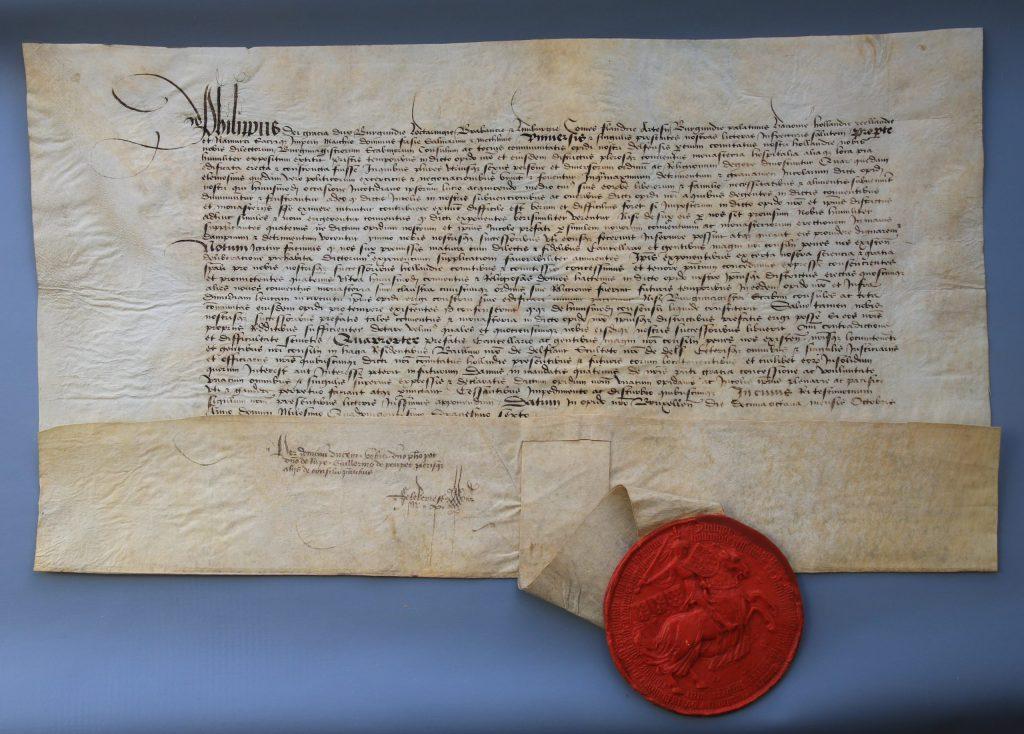 Hertog Filips van Bourgondië staat Delft toe om het oprichten van kloosters te verbieden, 18 oktober 1466 (Archief 1, inv.nr 3418, charter 7112)
