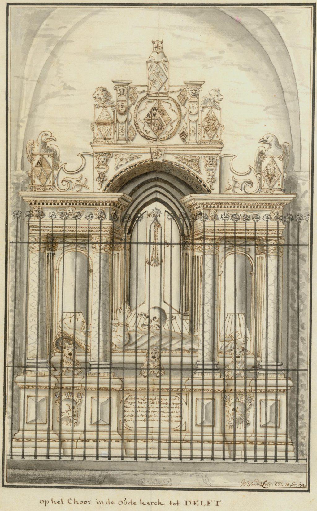 Tekening van de graftombe van Elisabeth Morgan door Willem van der Lely, 1730 (TMS 68841)