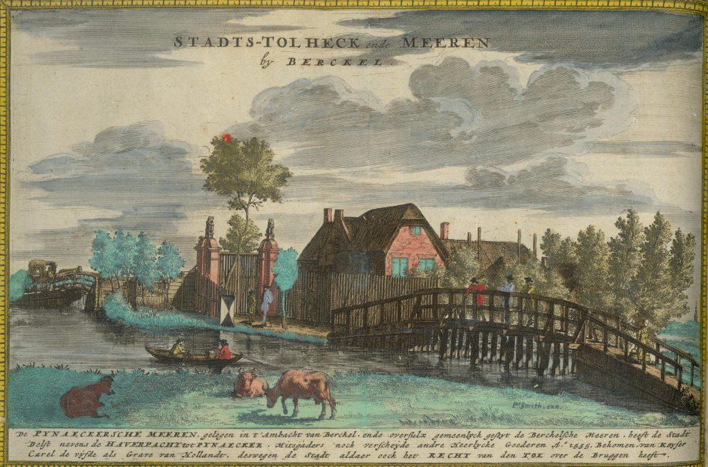 Het tolhek bij Berkel op een randprent van de Kaart Figuratief, 1678 (TMS 71647)