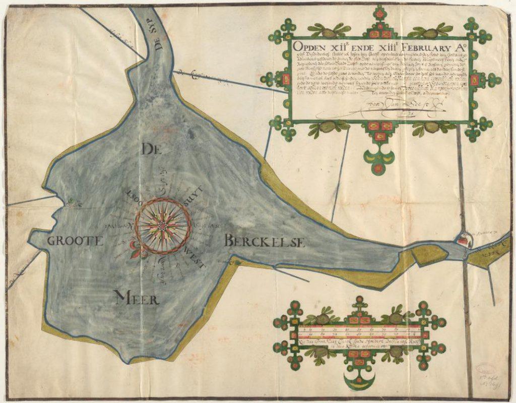 Kaart van de Pijnackerse Meren door Johan van Beest, 1635 (TMS 114835)