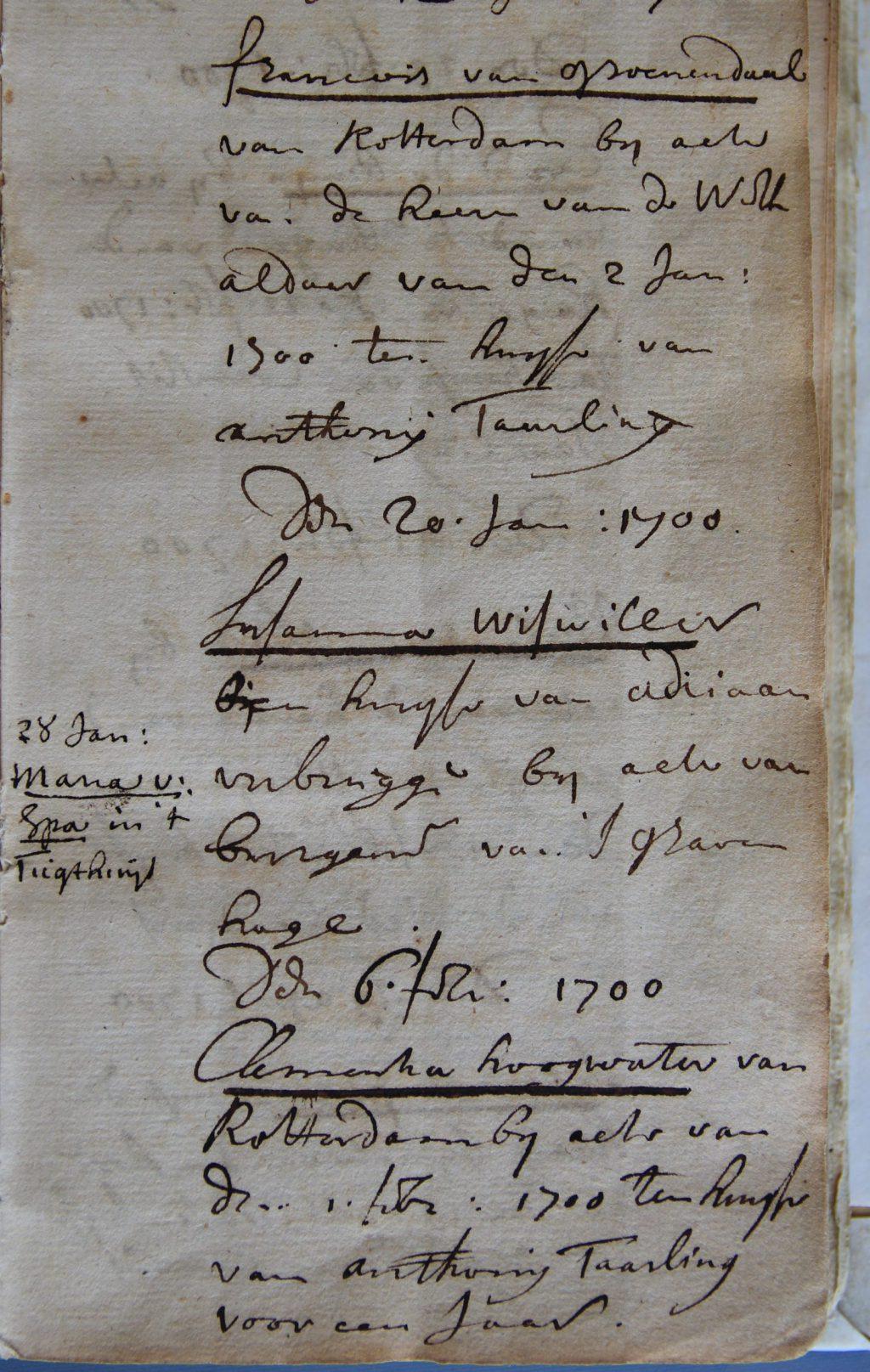 Register van geconfineerde personen, 1699-1792; pagina met inschrijvingen uit 1700 (Archief 1, inv.nr 2616)