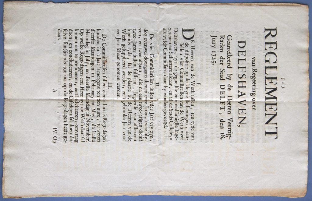 Het reglement voor Delfshaven, 1725 (Archief 1, inv.nr 417)