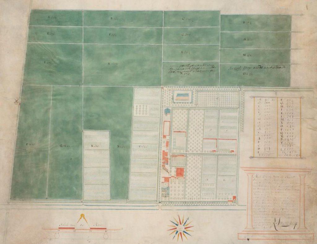 Kaart van de kruitfabriek en bijbehorende landerijen door Leendert Swemkoop, 1713 (TMS 123012)