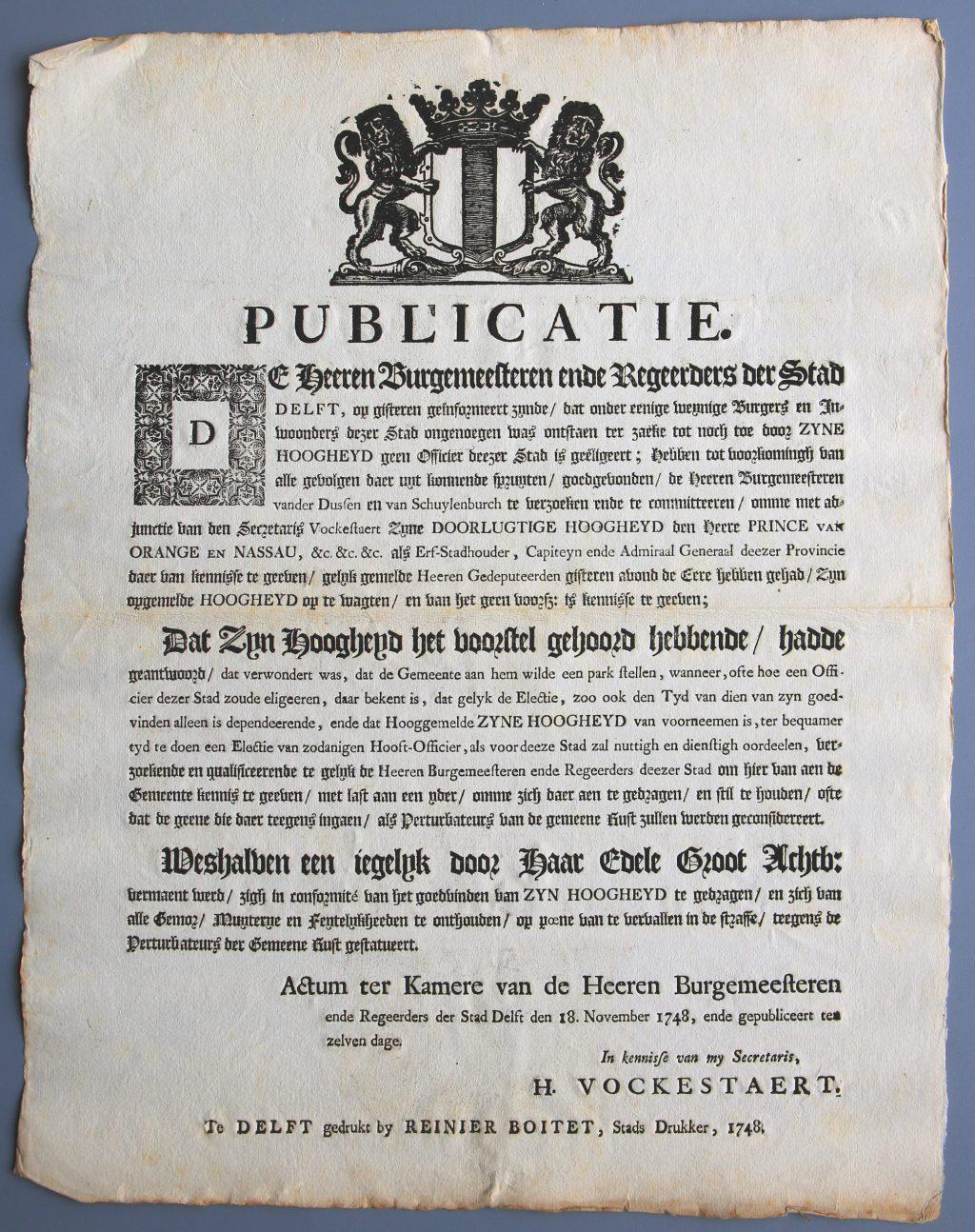 Publicatie van het stadsbestuur, met bevel aan de inwoners om de rust te bewaren (Archief 1, inv.nr 512)]