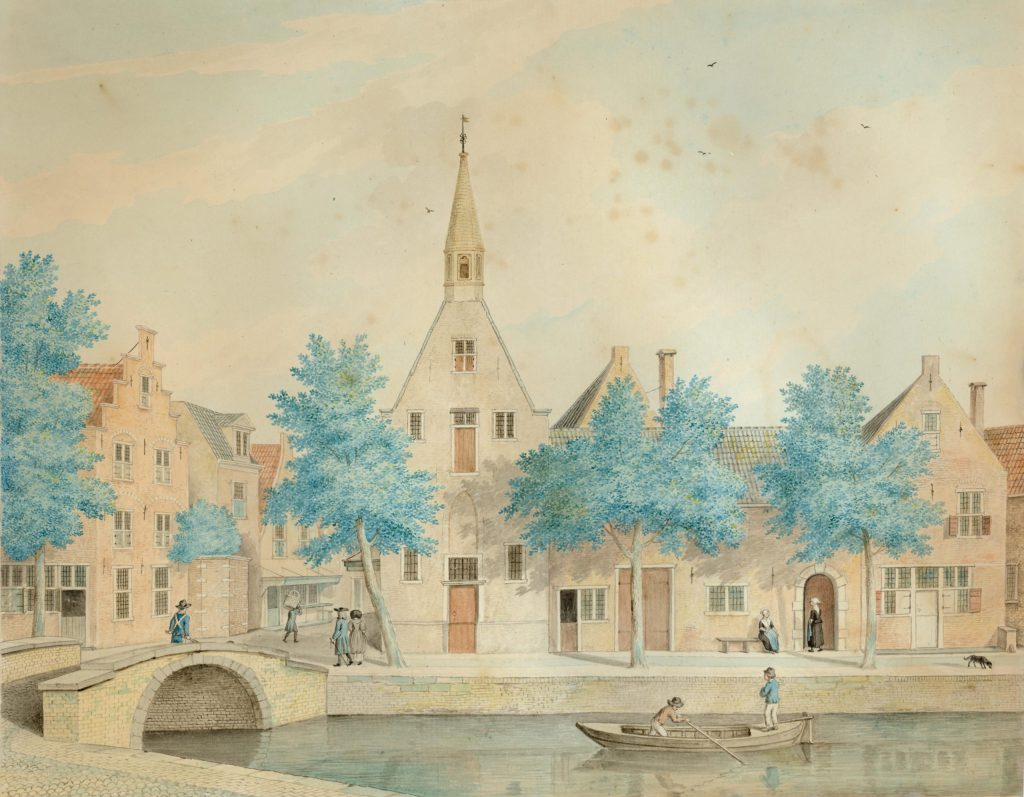 Aquarel van het oude Meisjeshuis, vóór 1769 (TMS 20475)