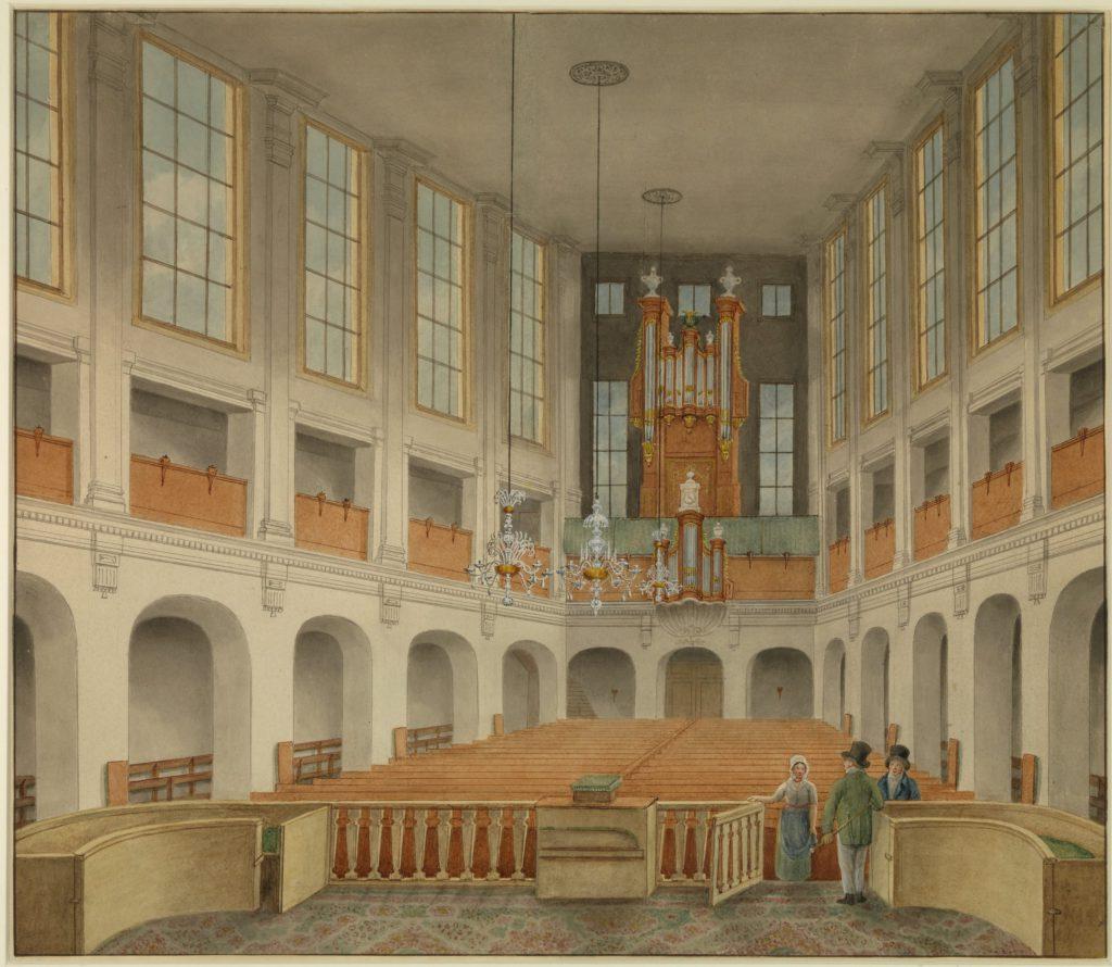 Interieur van Christo Sacrum aan het Rietveld, vermoedelijk getekend door Isaac van Haastert, circa 1810 (TMS 105089)