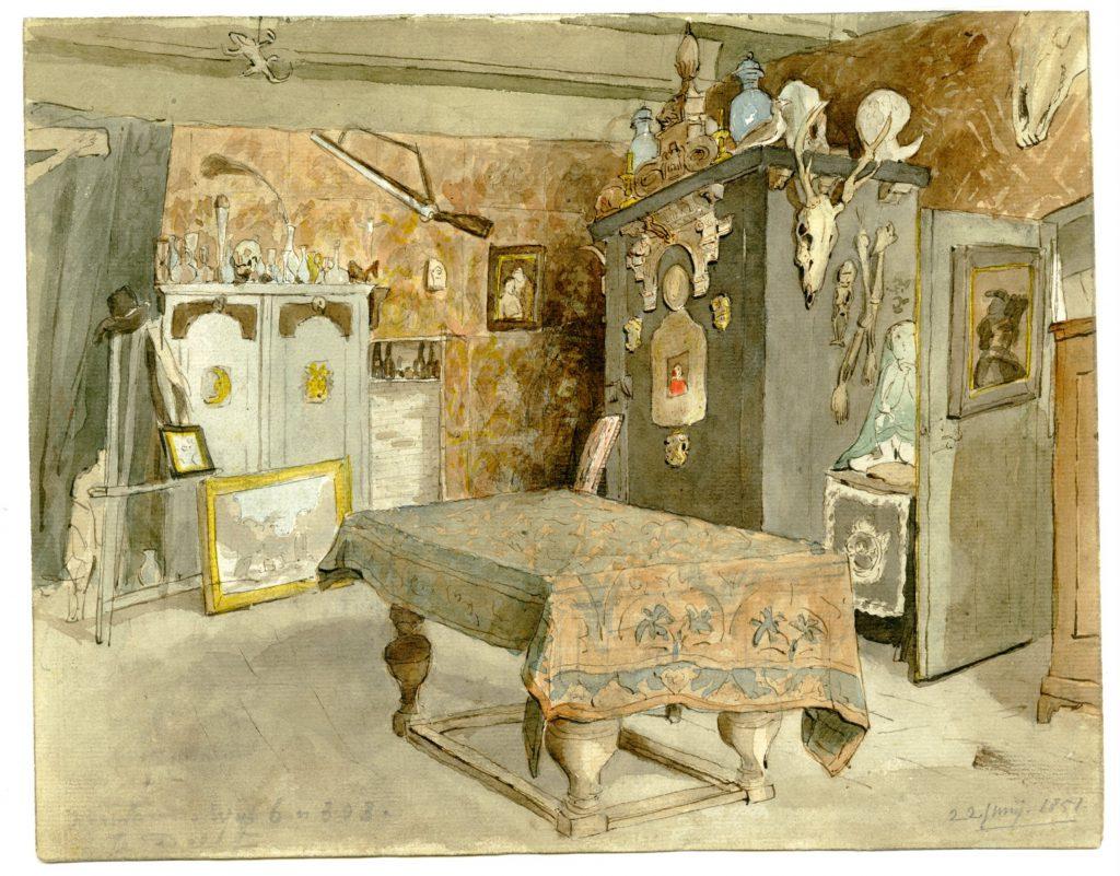 Cornelis Ouboter van der Griendt, Aquarel van het interieur van zijn atelier op Voorstraat 68, 22 juni 1851 (TMS 220899)