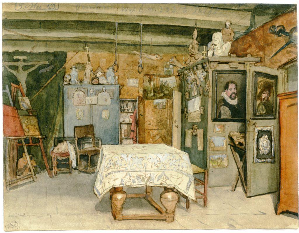 Cornelis Ouboter van der Griendt, Aquarel van het interieur van zijn atelier op Voorstraat 68, 5 mei 1853 (TMS 220900)