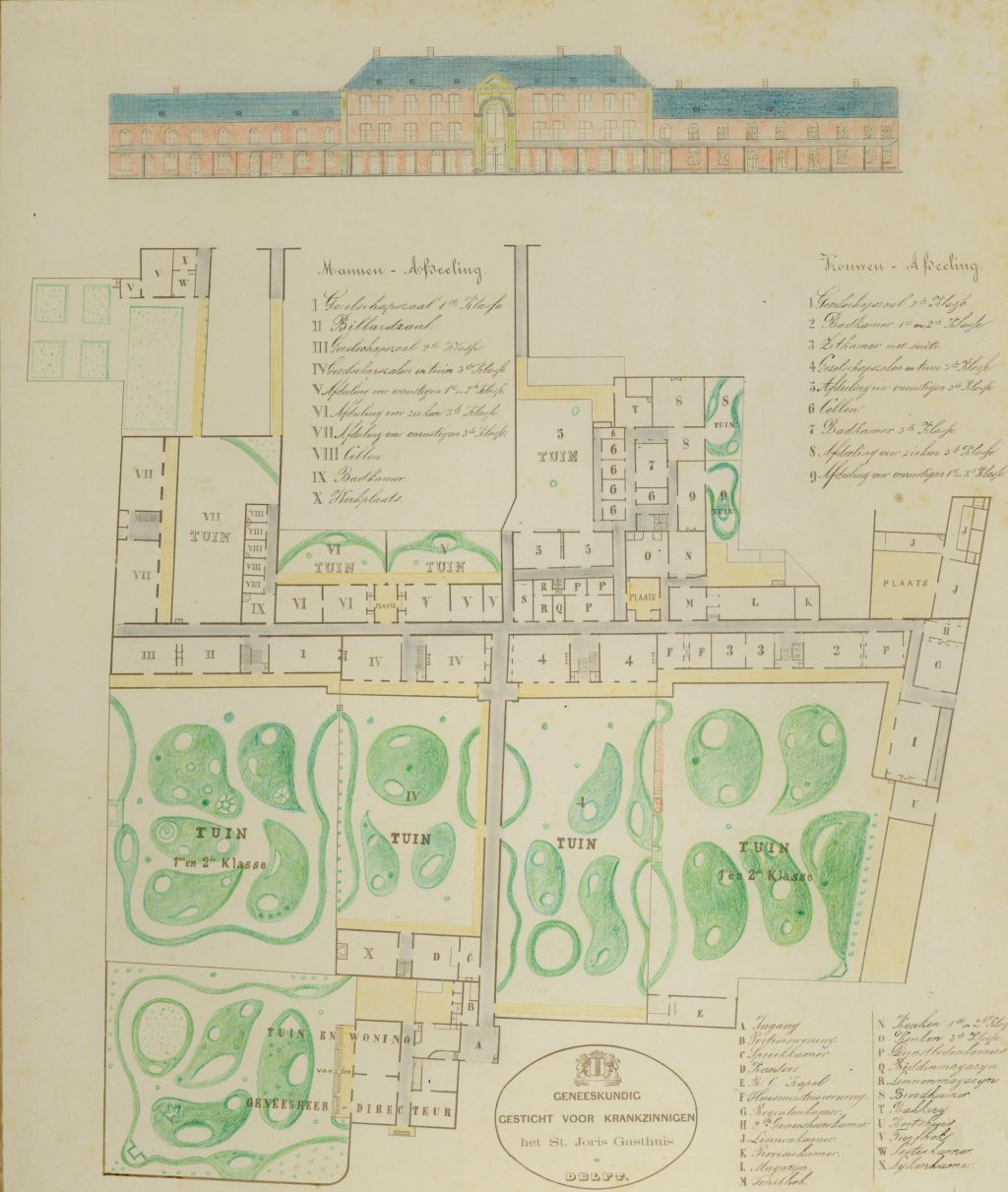 F.C.F. Gräfe, Plattegrond en gevel van het Sint-Jorisgasthuis, 1872 (TMS 64552)