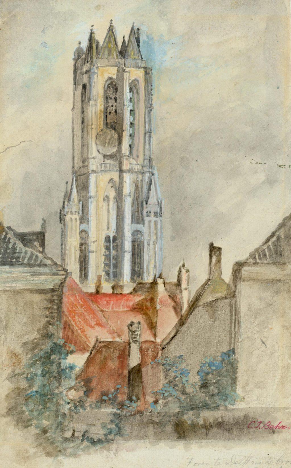 C.J. Behr, Nieuwe Kerk zonder torenspits, 1872 (TMS 5889)