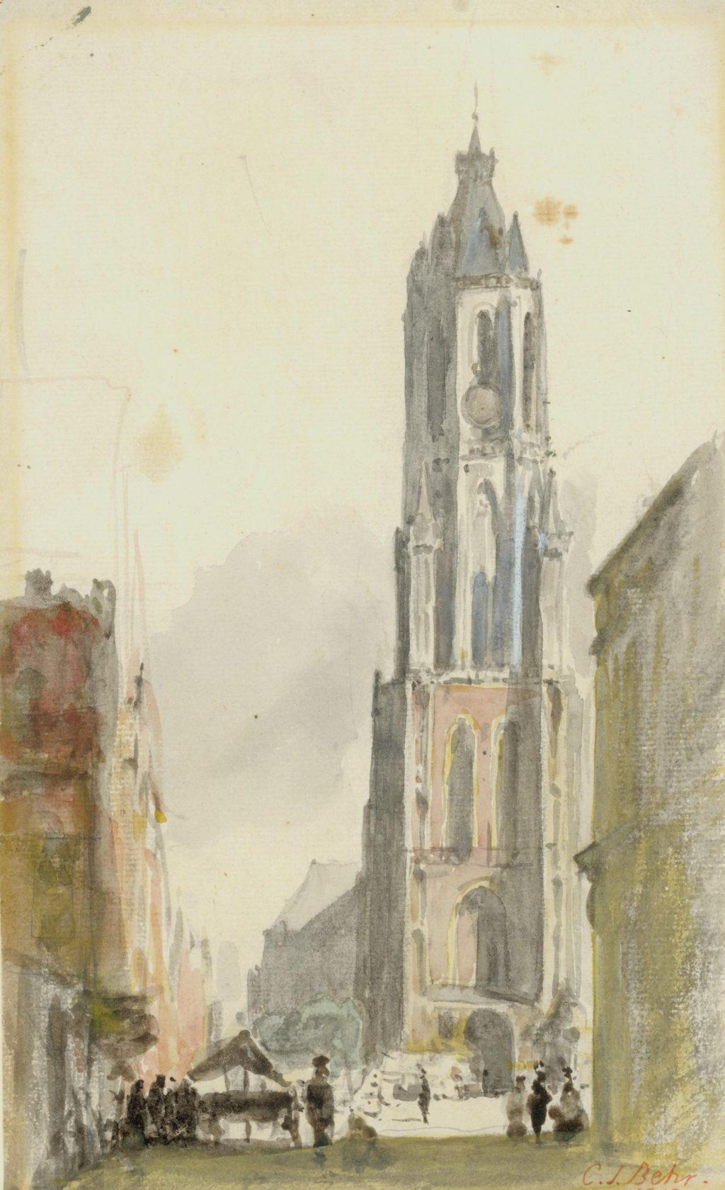 C.J. Behr, Nieuwe Kerk met de oude torenspits, 1865 (TMS 68322)