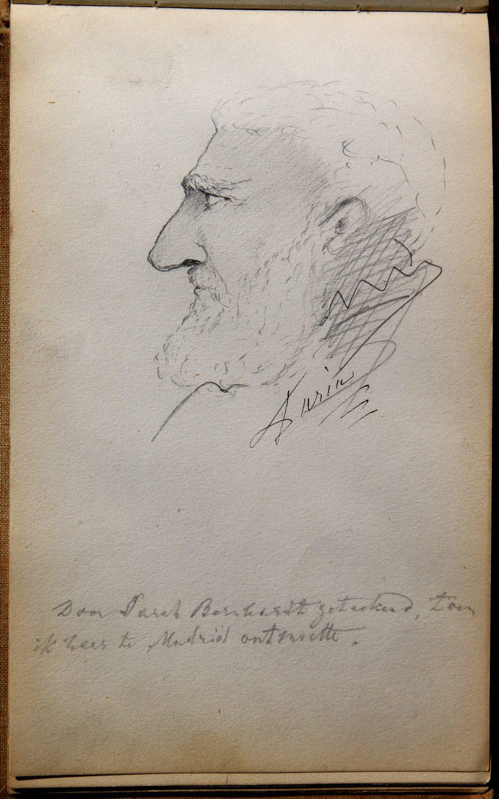 Tekening van Sarah Bernhardt in het handtekeningenboekje van Mienette Storm-van der Chijs