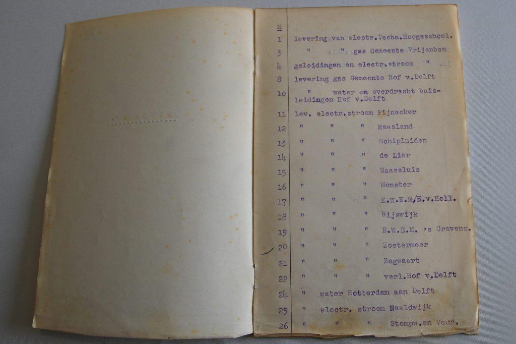Overeenkomsten tussen Delft en omliggende gemeenten over levering stroom, gas en water, 1909-1943(archief 60, inv.nr. 132)