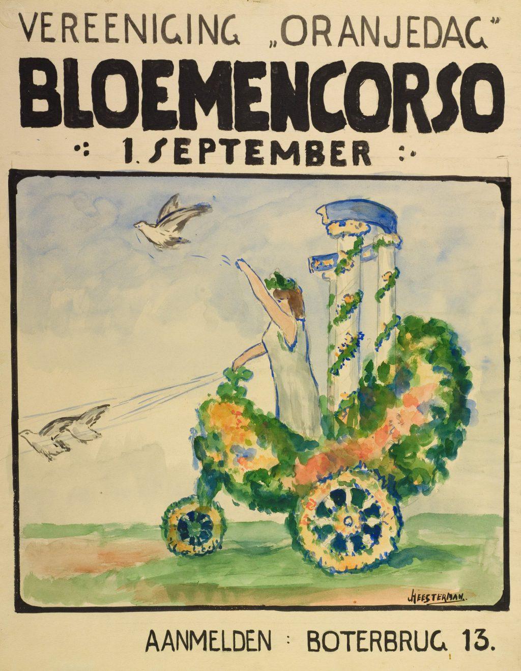 Jan Heesterman, Affiche voor het bloemencorso voor Vereniging Oranjedag, ca. 1920 (TMS 65354)