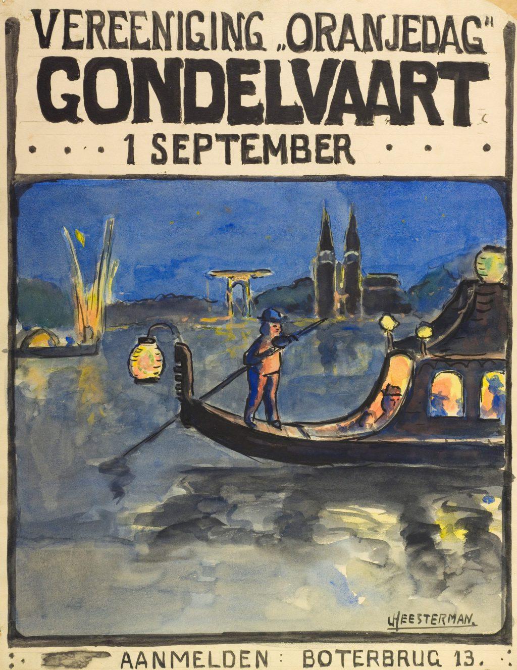 Jan Heesterman, Affiche voor de gondelvaart voor Vereniging Oranjedag, 1920 (TMS 65358)