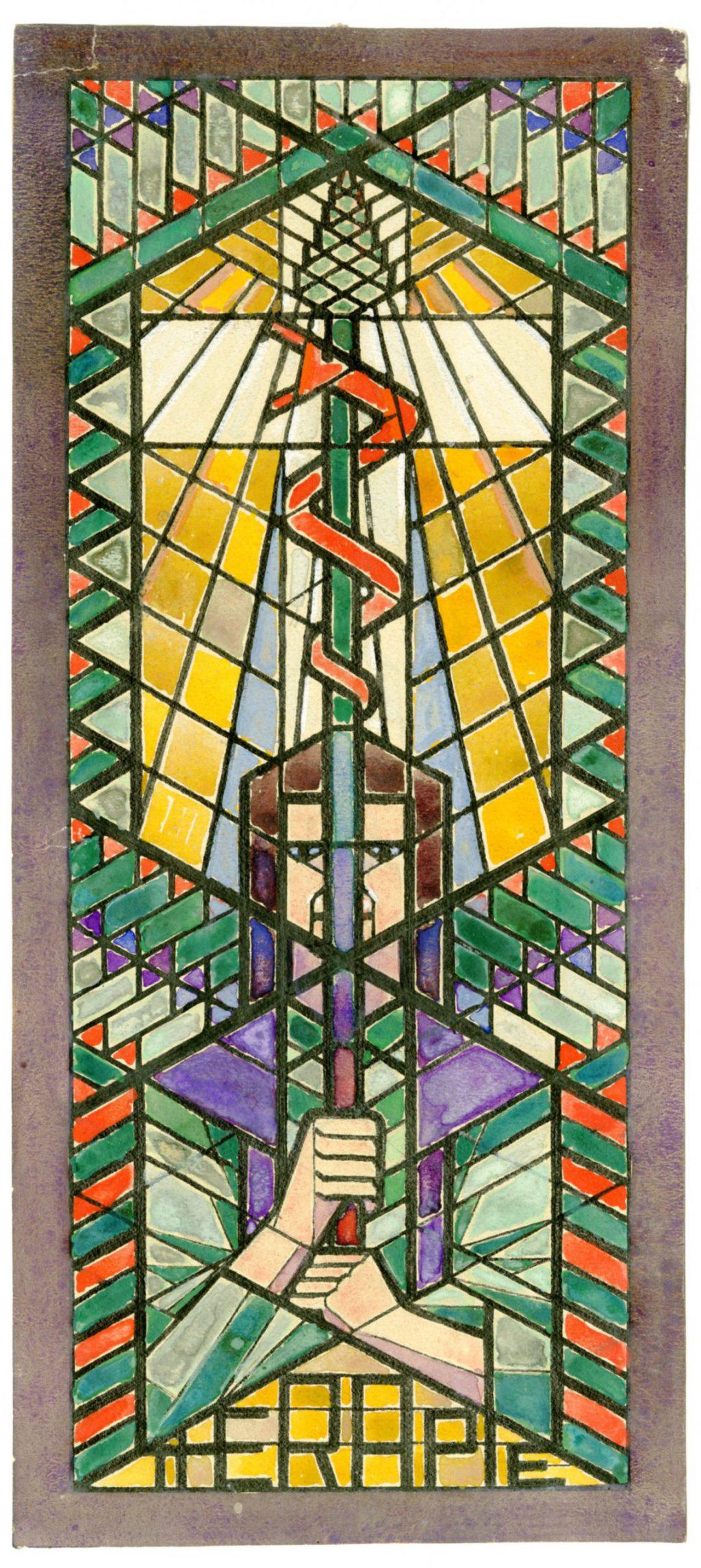 TMS 139202, Rijk van Lavieren, Schetsontwerp glas-in-loodraam 'Therapie' Hippolytusziekenhuis, 1924
