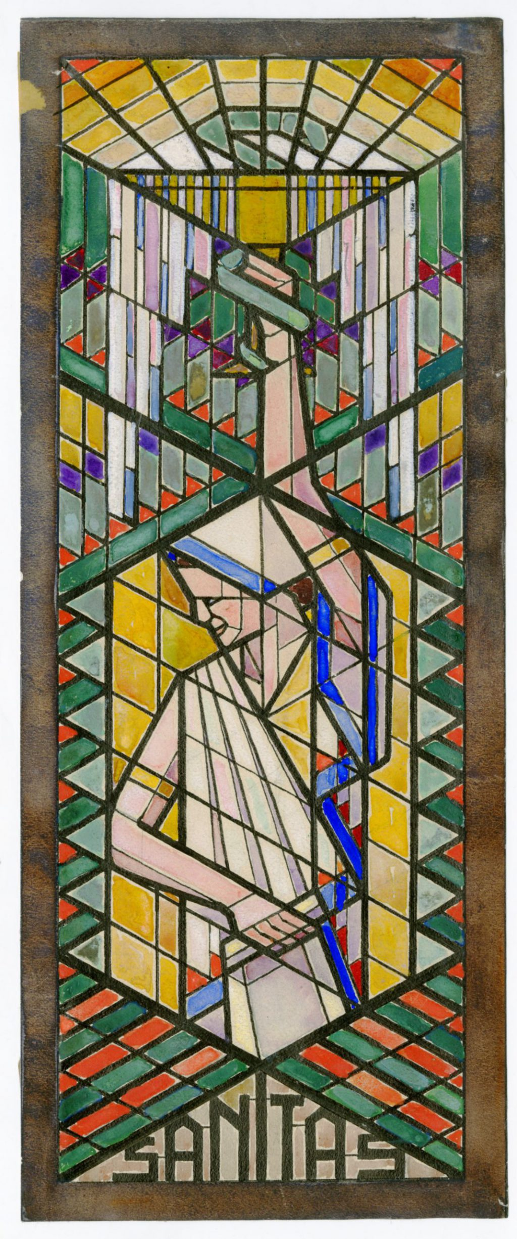 TMS 139203, Rijk van Lavieren, Schetsontwerp glas-in-loodraam 'Sanitas' Hippolytusziekenhuis, 1924