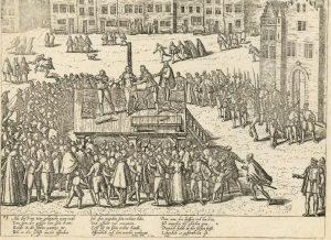Een historieprent van Frans Hogenberg uit omstreeks 1587-1591 waarop de marteling van Balthasar Gerards afgebeeld is. De marteling vindt plaats op een verhoogd podium op de markt van Delft. Een grote menigte kijkt en juicht toe.