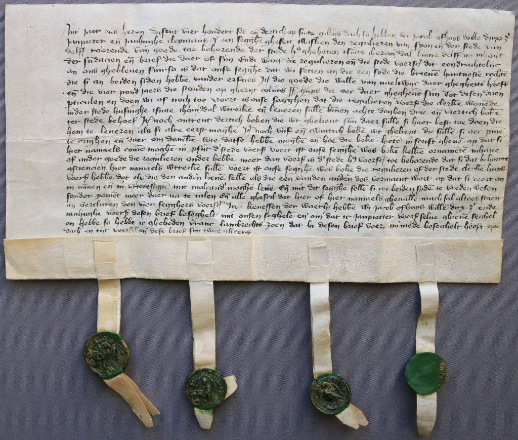 Uitspraak van vier arbiters over de boedelscheiding tussen Sint-Hiëronymusdal en Sion, 1436 (Archief 1, inv.nr 3413, charter 3100)