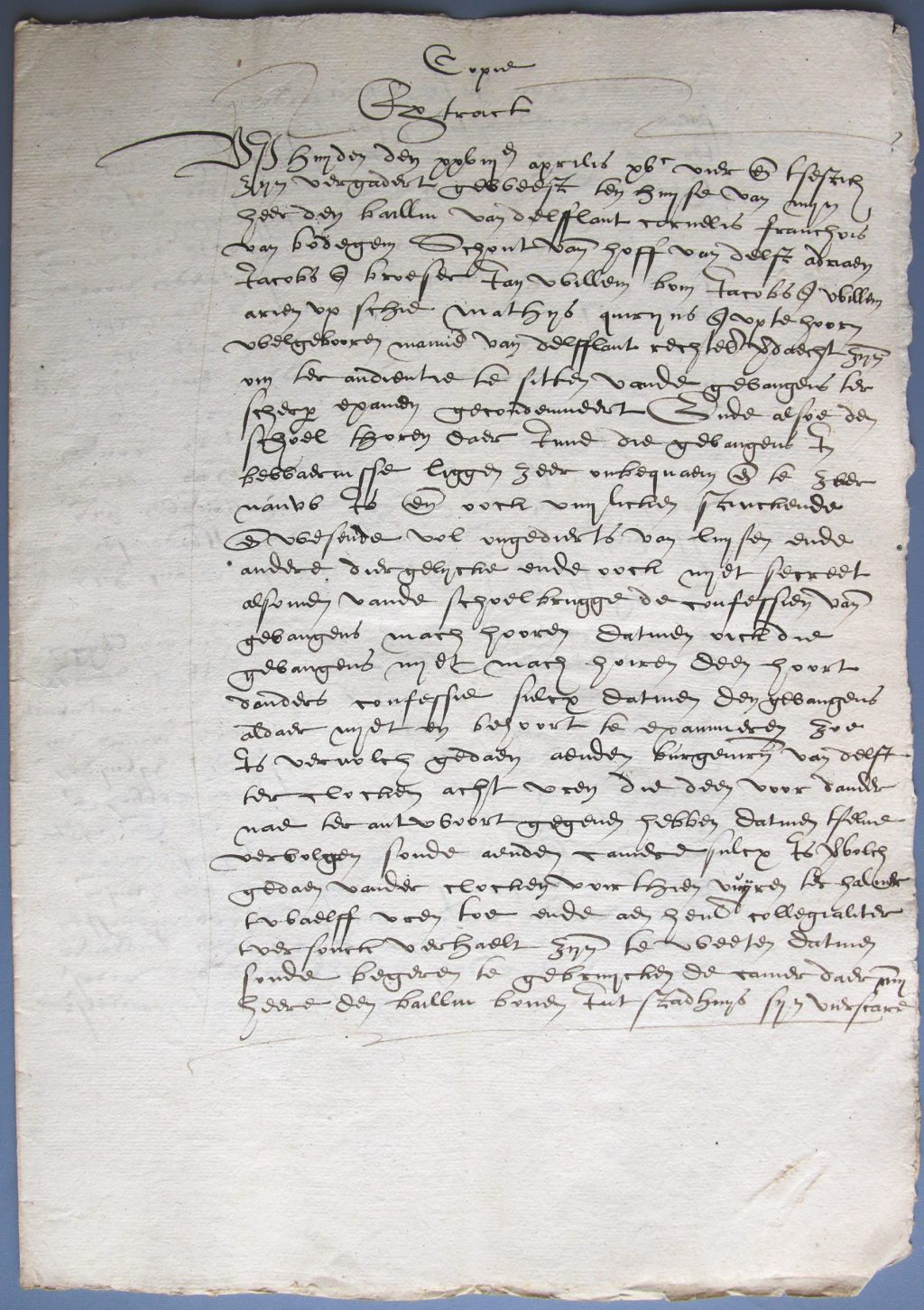 Pagina uit het dossier over de ongeschiktheid van de gevangenis in de Schoolpoort (Archief 1, inv.nr 842)
