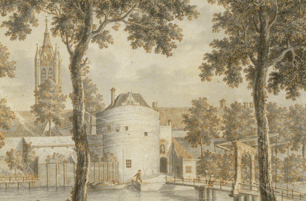 De Schoolpoort, detail uit een tekening van Isaac van Haastert, 1770 (TMS 67761)