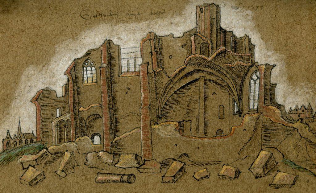 De ruïne van het kartuizerklooster, tekening 1573 (TMS 114235)