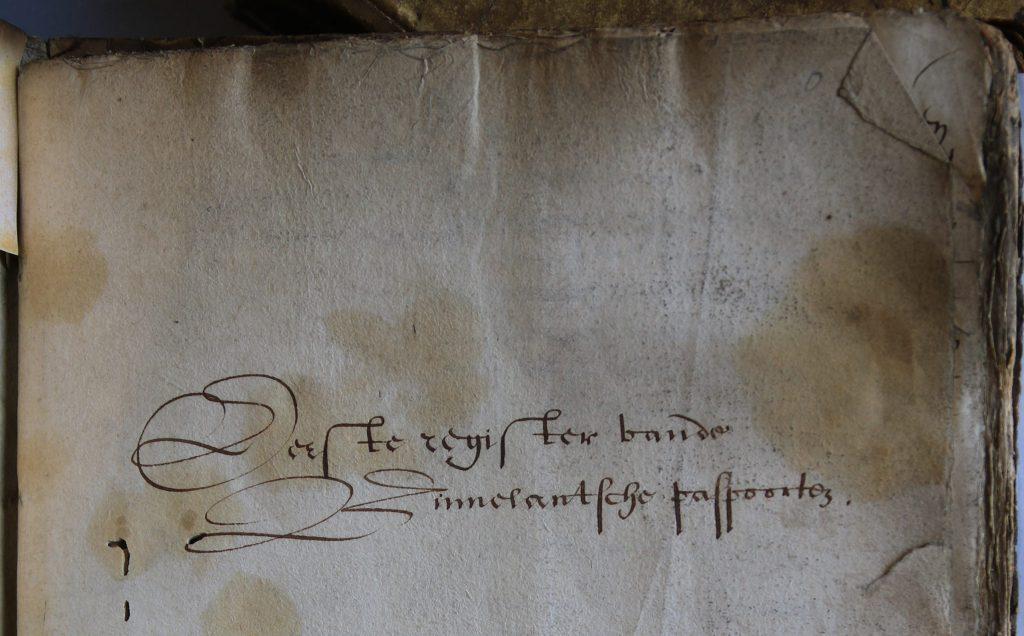 Register van binnenlandse paspoorten, 1623-1626, titelpagina (Archief 1, inv.nr 4083)
