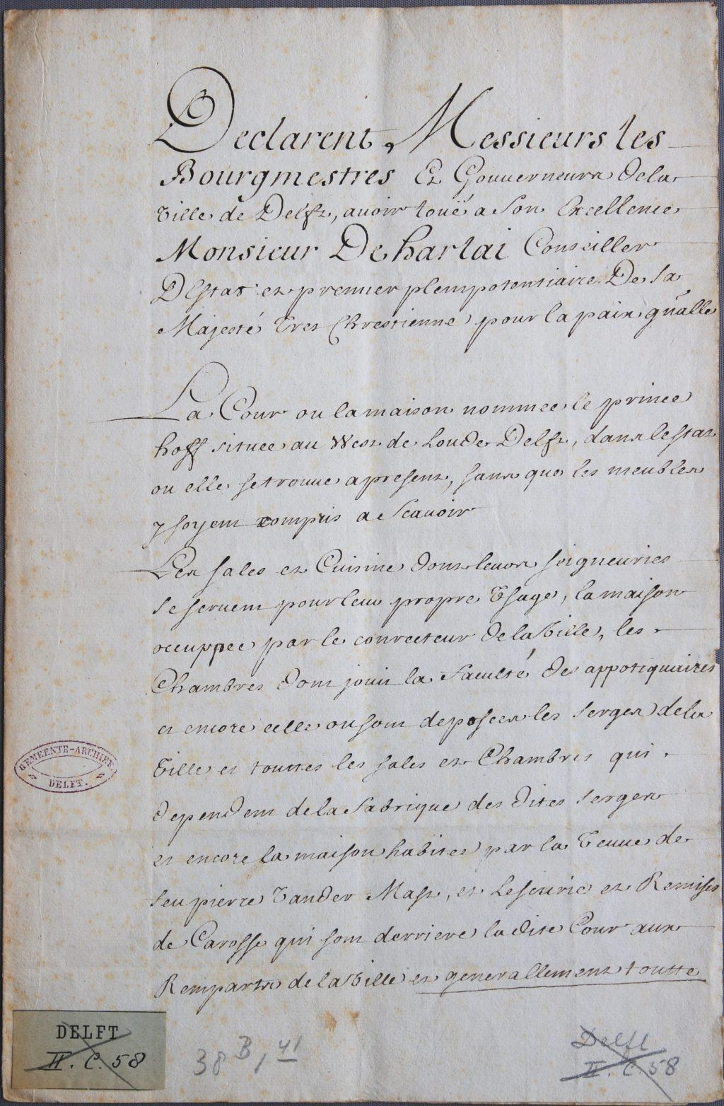 Afschrift van de akte van verhuur van het Prinsenhof aan de gezant van de koning van Frankrijk, 1697 (Archief 1, inv.nr 911)