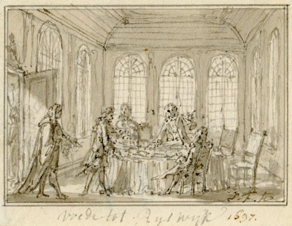 Onderhandelingen in Huis ter Nieuburch te Rijswijk; tekening van Simon Fokke, c. 1770 (TMS 63629)