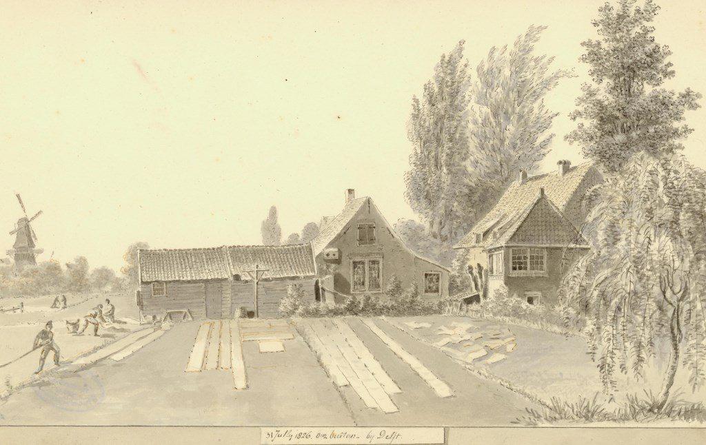 Blekerij Onz Buiten bij Delft, getekend door Balthasar Jooss, 1826 (TMS 4789)