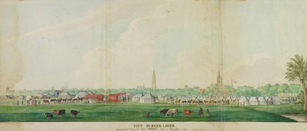 Het vliegende legertje van Adam Mappa voor de stad; Isaac van Haastert, 1787 (TMS 65369)