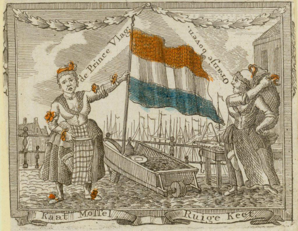 Spotprent met Kaat Mossel en Ruige Keet, 1784 (TMS 70727)