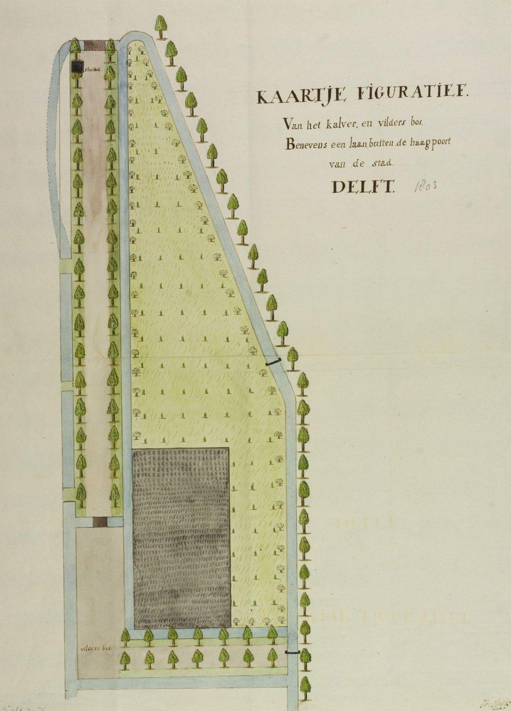 Kaartje van het Kalver- en Vilderbos buiten de Haagpoort, J.H. Smits, 1803 (TMS 65348)