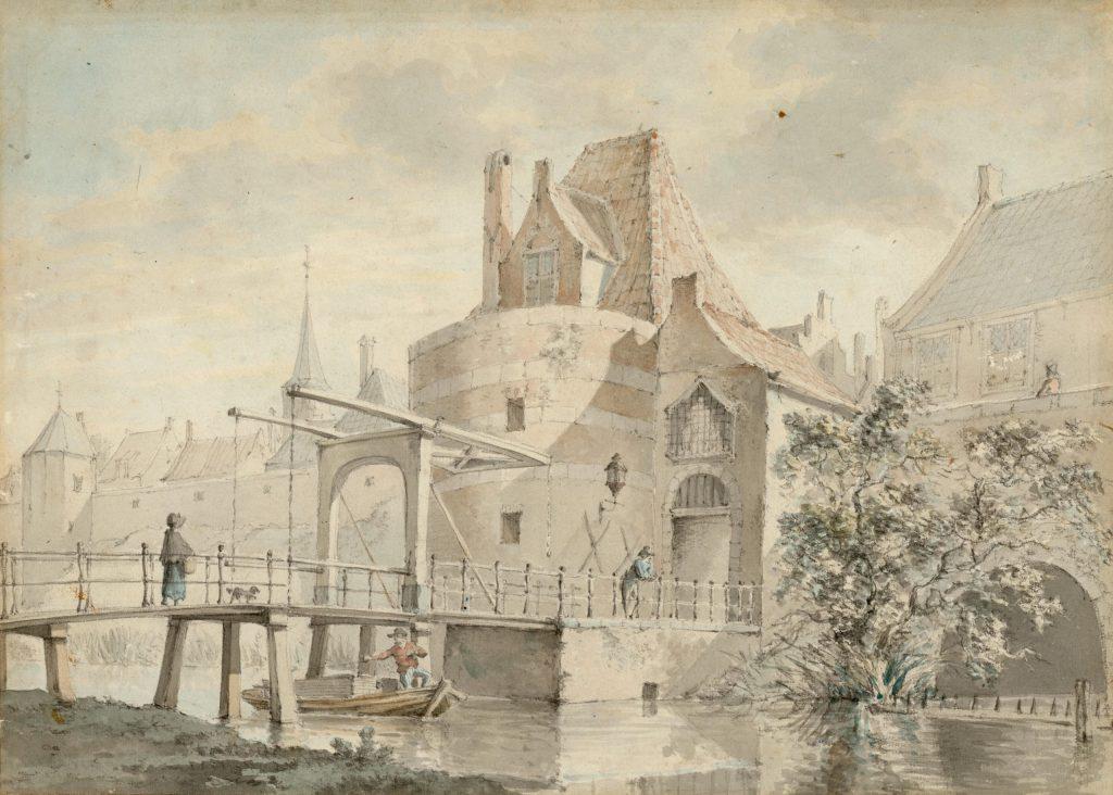 Johannes Jelgerhuis, Prent van de buitenzijde van de Schoolpoort, 1816 (TMS 4791)