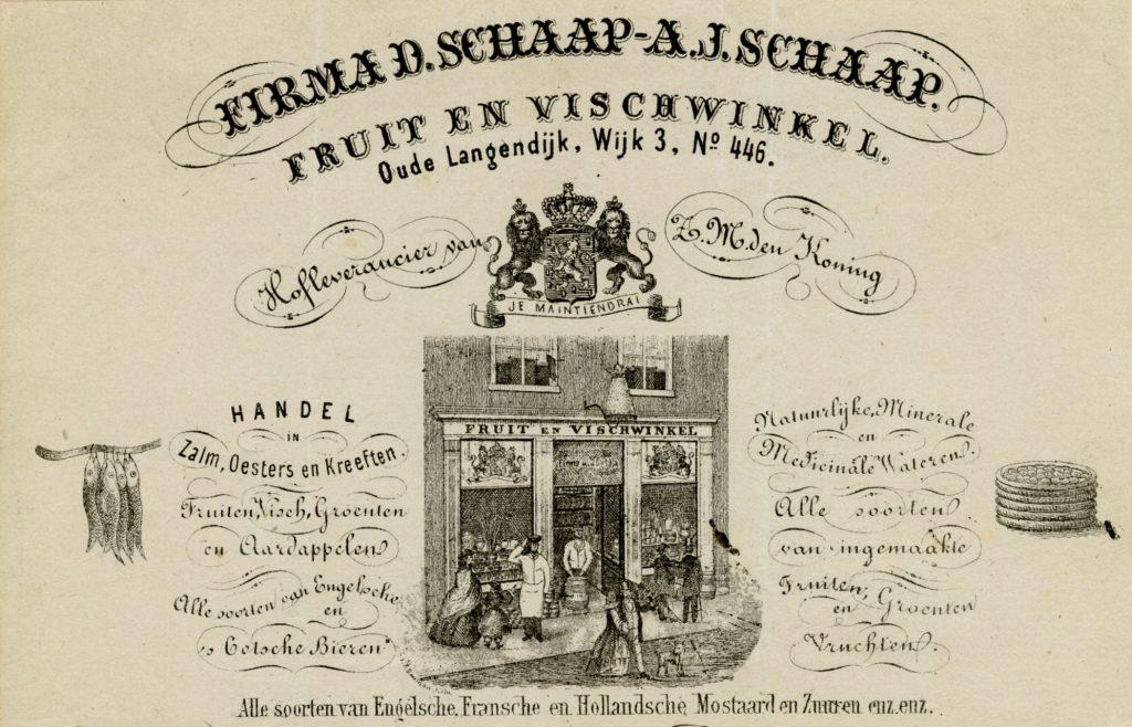 Briefhoofd van de Fruit- en Viswinkel van D. Schaap en A.J. Schaap, 1865 (TMS 109314)