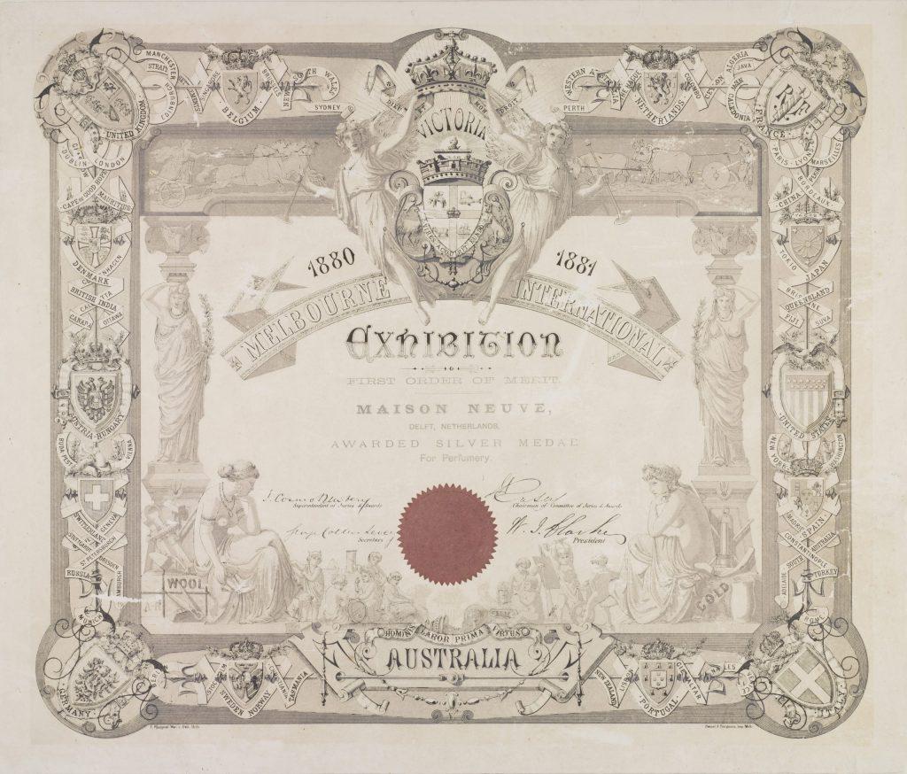 Oorkonde voor parfumfabriek Maison Neuve, 1880 (TMS 74612)