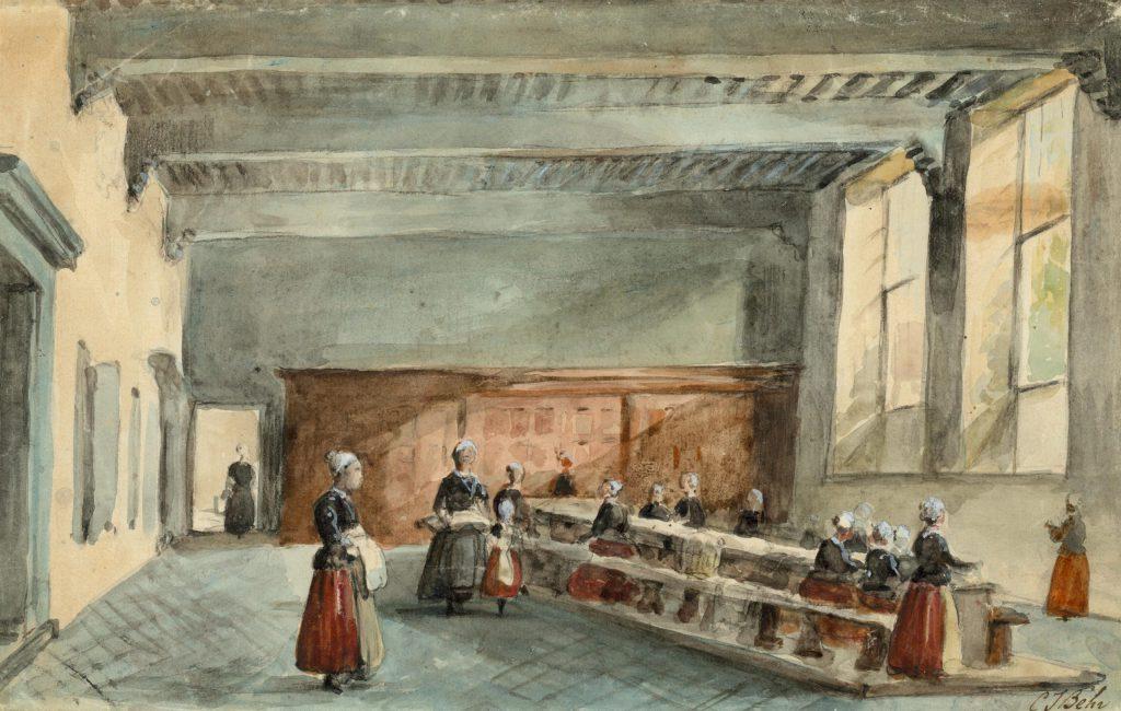 Carel Jacobus Behr, Linnenkamer van het Weeshuis, ca. 1879 (TMS 5886)