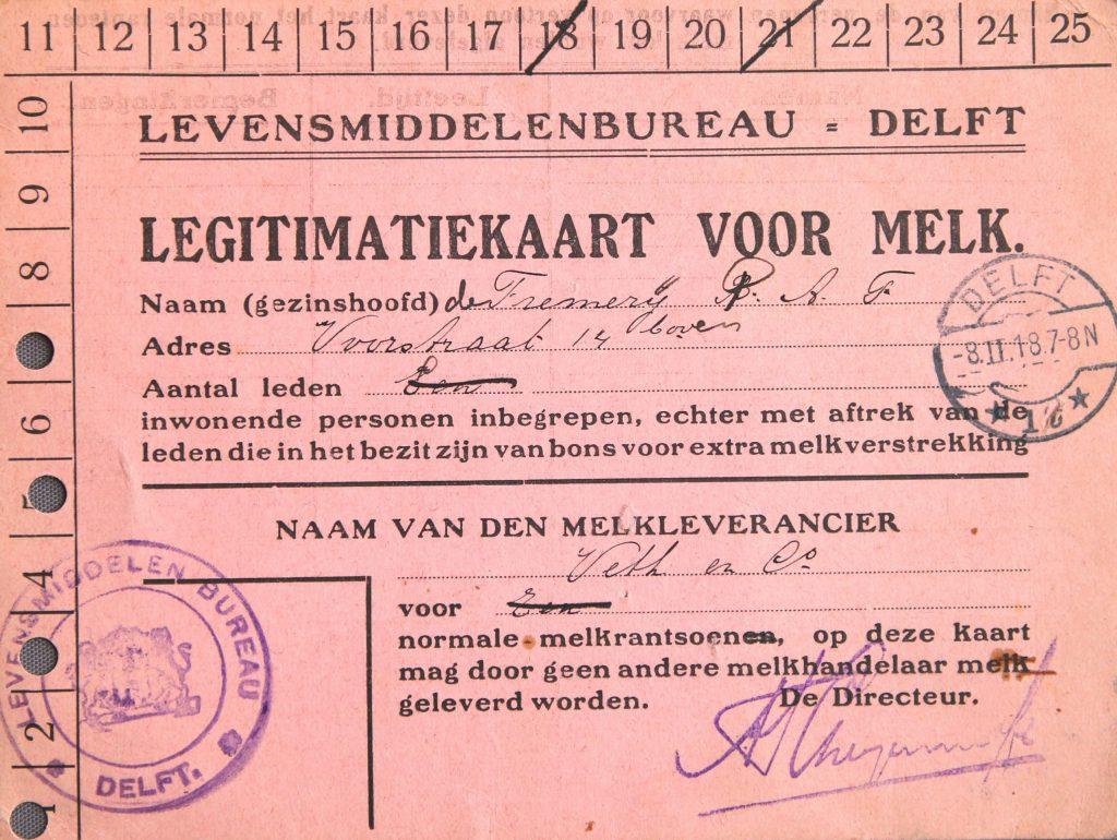 Legitimatiekaart voor distributie Eerste Wereldoorlog (Archief 598, inv.nr 1362)