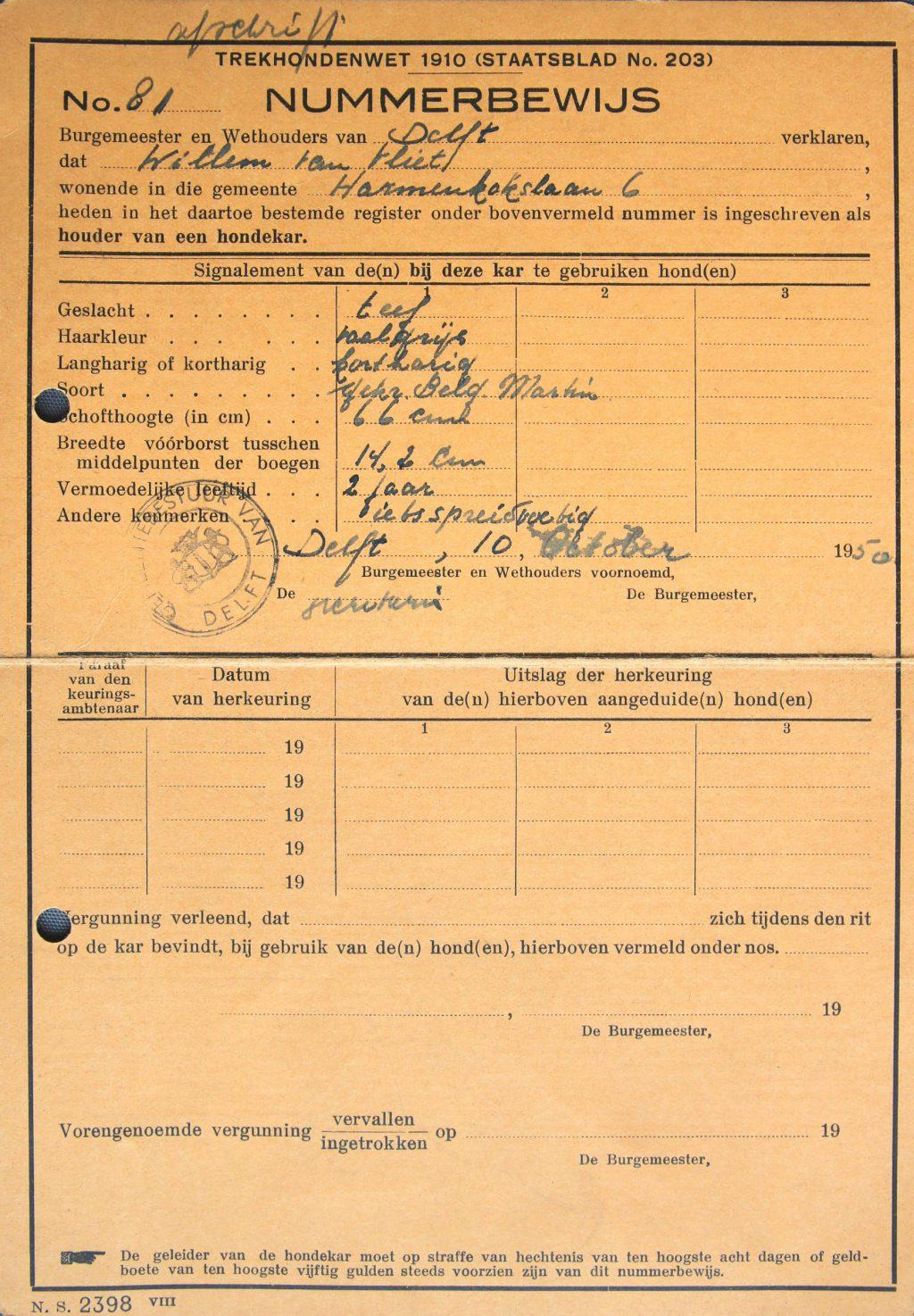 Nummerbewijs voor de hond van W. van Vliet in het register van houders van hondenkarren (Archief 653, inv.nr 2987)
