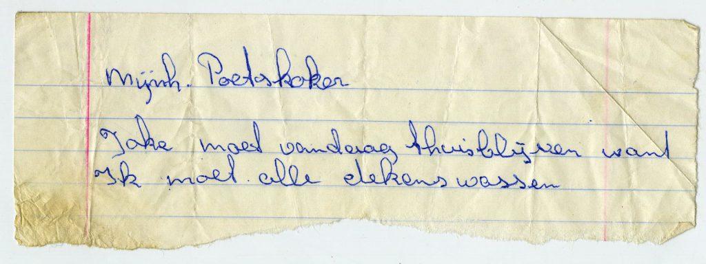 Brief aan mijnheer Poetskoker van de Mr. G. Engbertsschool