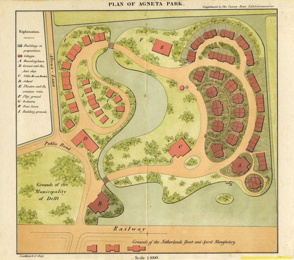 Ontwerp voor het Agnetapark door L.P. Zocher, ca. 1881 (TMS 1038)