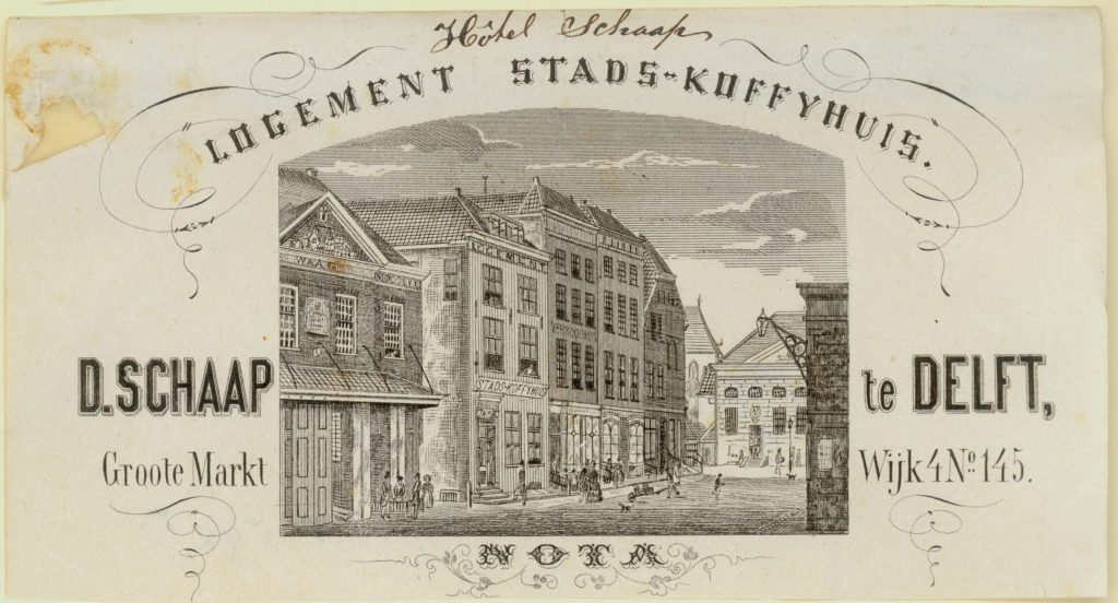Briefhoofd van het Hotel, Logement en Stadskoffiehuis van D. Schaap, ca. 1865 (TMS 63414)