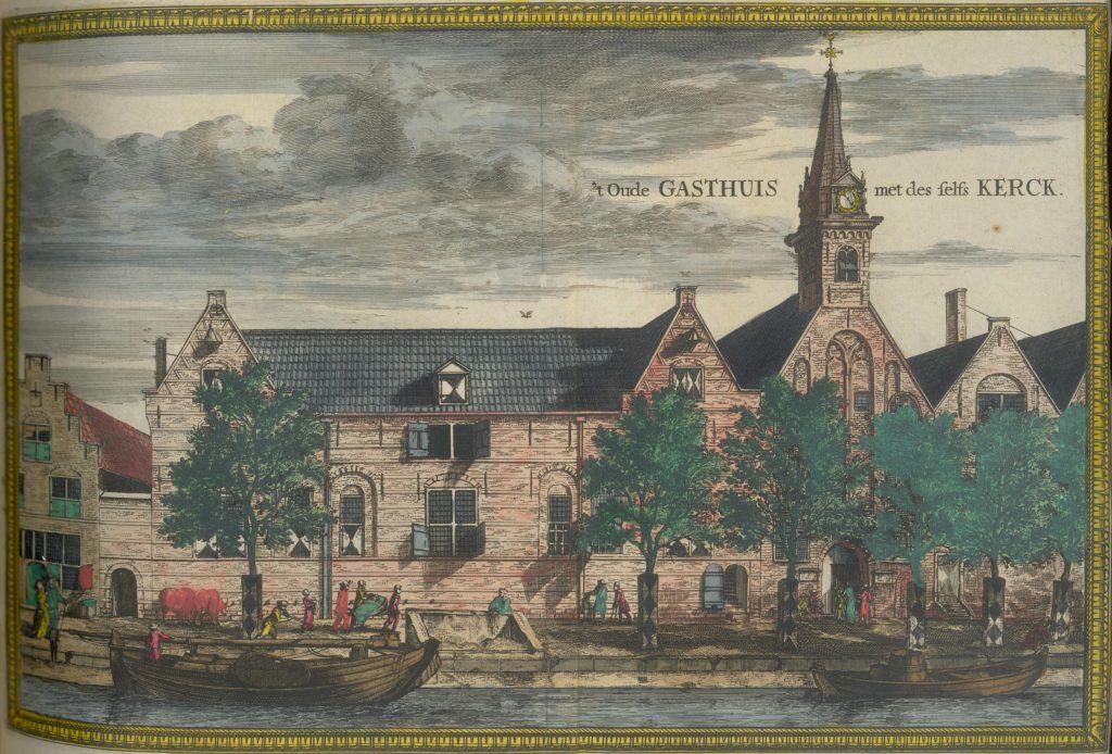 Ingekleurde prent van het Oude Gasthuis aan de Koornmarkt, c. 1680 (TMS 71704)