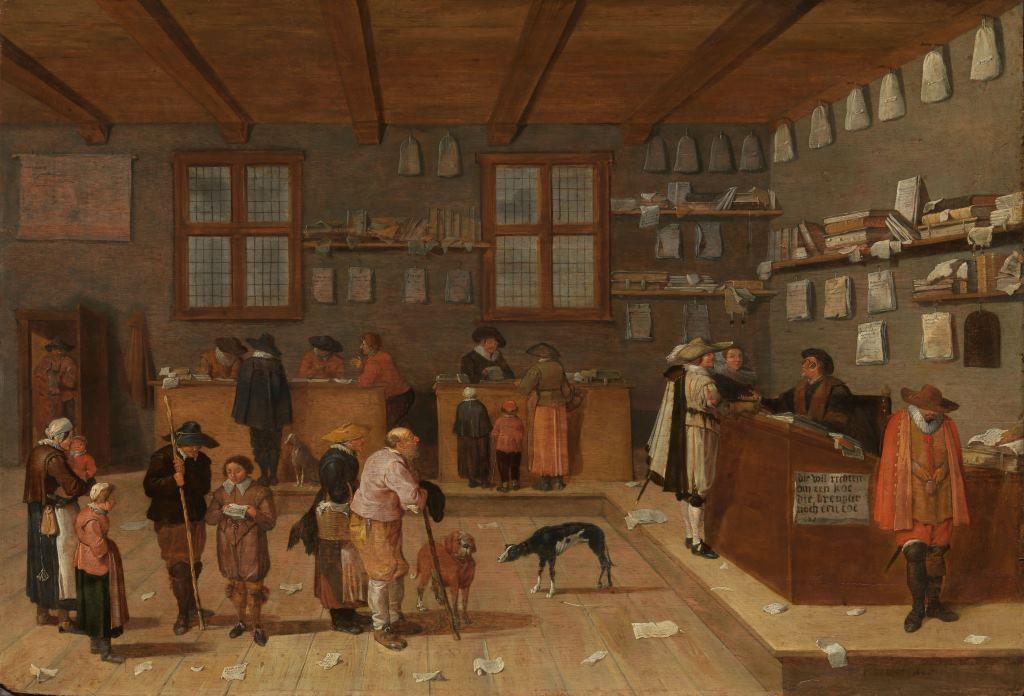 Het kantoor van de advocaat, schilderij van Pieter de Bloot, 1628 (Rijksmuseum Amsterdam)