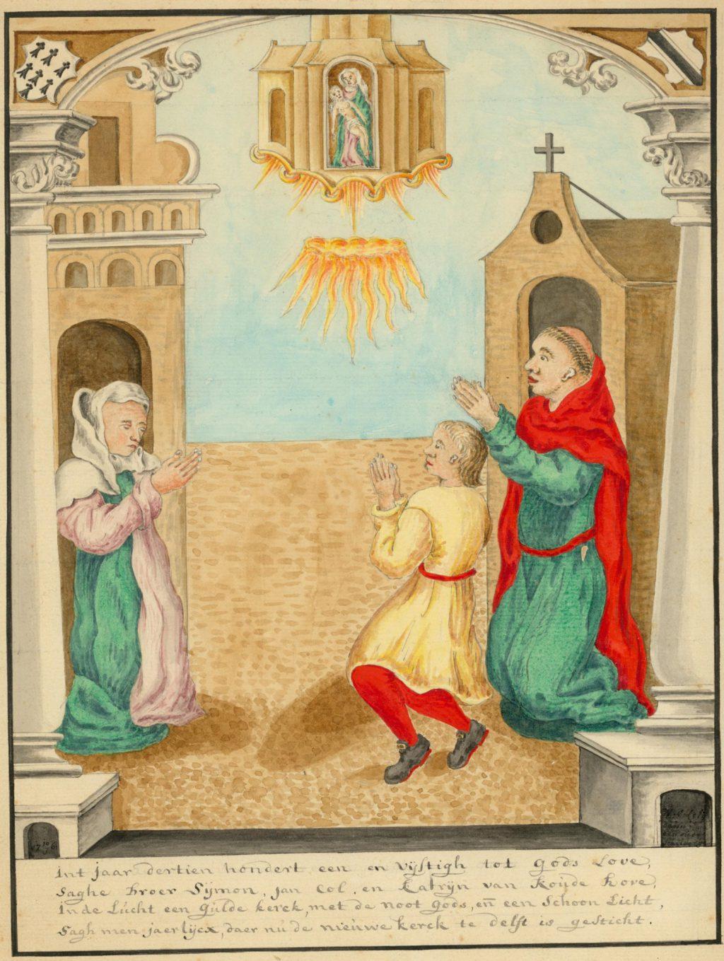 Tekening van het visioen van de Nieuwe Kerk. Rechts broeder Simon en Jan Col, links de begijn jonkvrouwe Catharina van Coudenhove, die het visioen ook zou hebben gezien. Willem van der Lelij, 1761. (TMS 6781)]