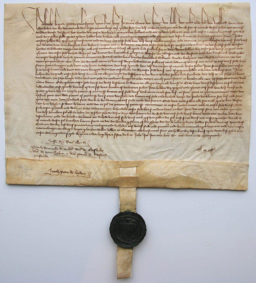 Oorkonde van hertog Albrecht, waarin hij Delft toestemming geeft om de verdedigingswerken te herstellen, 6 juli 1394 (Archief 1, inv.nr 8, charter 5003)