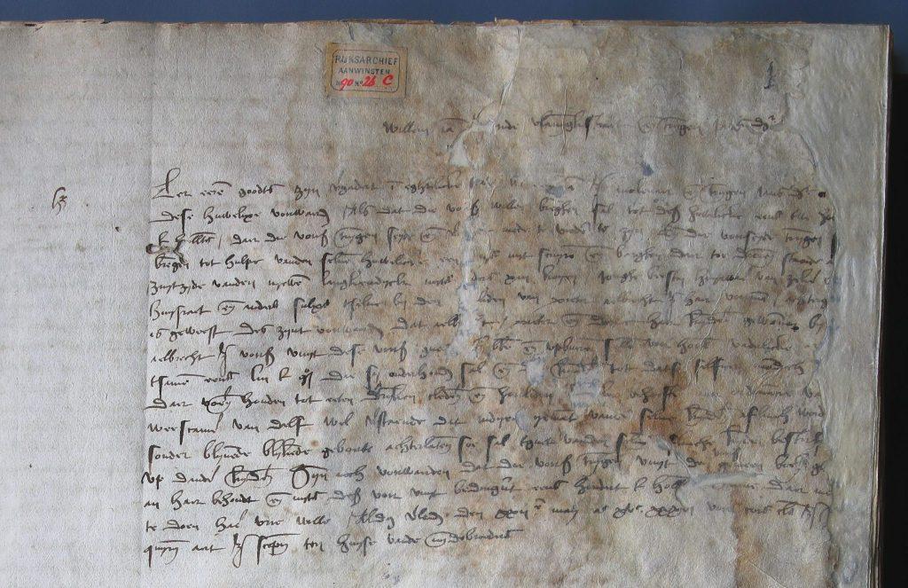 Huwelijkse voorwaarden van Willem Janszoon en Trijntgen Jansdochter, 22 mei 1536 (Archief 1, inv.nr 2210, folio 1)