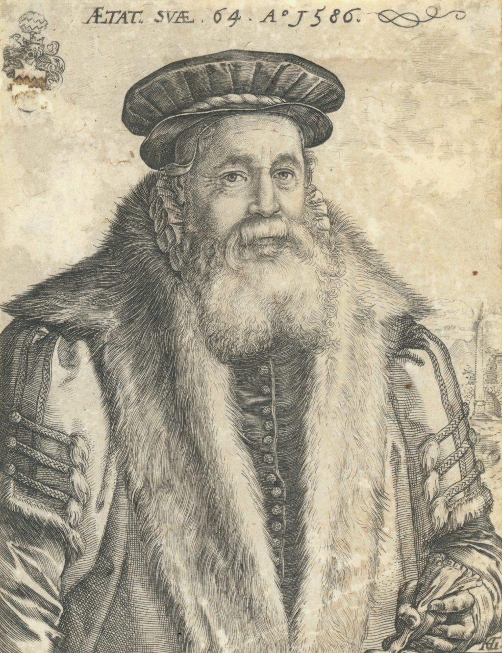 Portretgravure van Pieter van Foreest door Hendrick Goltzius, 1586 (TMS 6767)